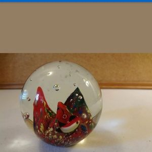 Vintage Multicolor Glass Paperweight with Bubbles